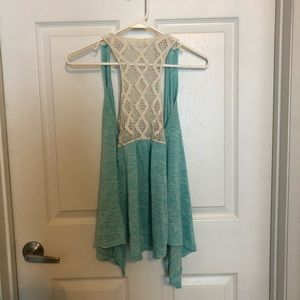 Miss Chievous Sweaters - Miss Chievous teal sleeveless throw, M